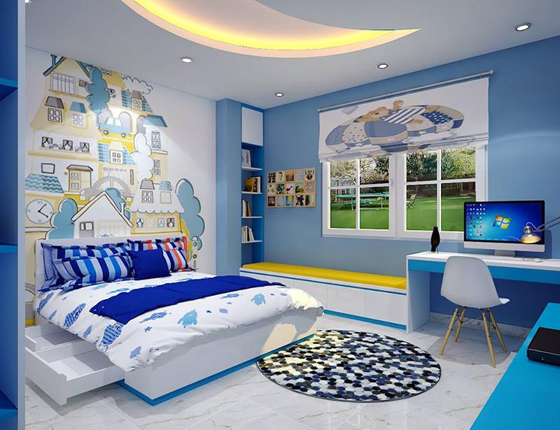 mẫu nội thất phòng ngủ cho bé trai