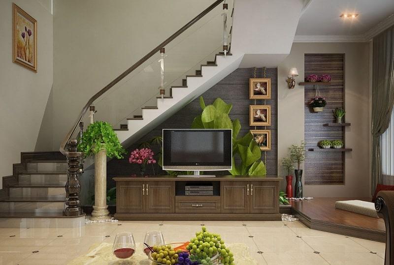 mẫu phòng khách hiện đại kết hợp kệ ti vi dưới gầm cầu thang