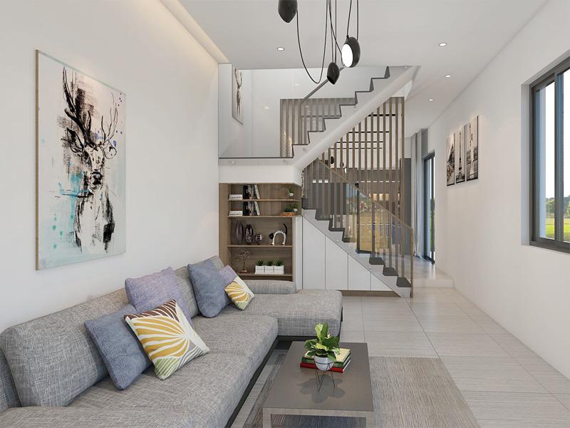 mẫu phòng khách có cầu thang hiện đại