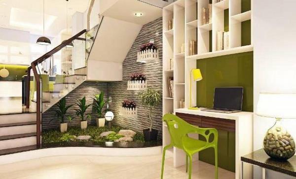 phòng khách đẹp kết hợp tiểu cảnh khô dưới gầm cầu thang