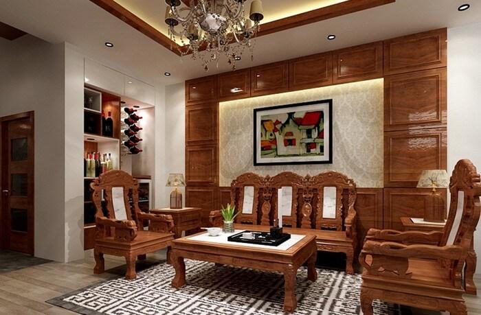 nội thất phòng khách đẹp bằng gỗ tự nhiên