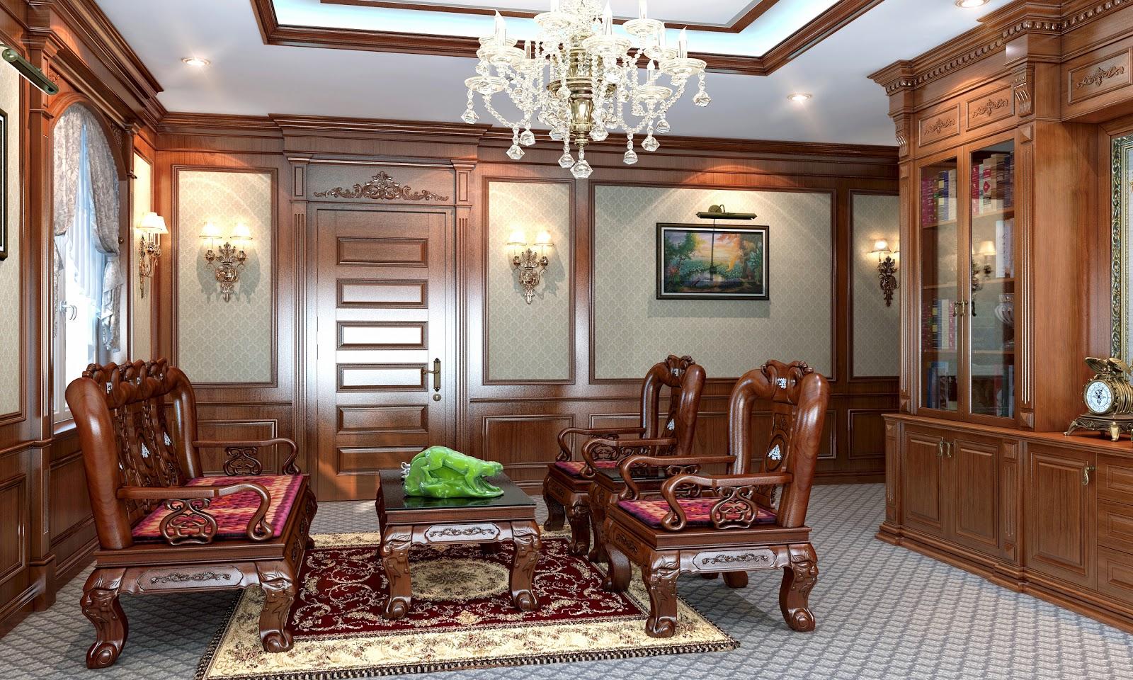 mẫu phòng khách cổ điển đẹp bằng gỗ tự nhiên cao cấp