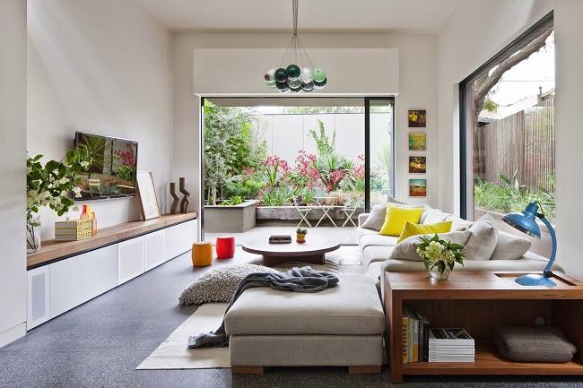 nội thất phòng khách kết hợp với không mở hòa nguyện cùng thiên nhiên