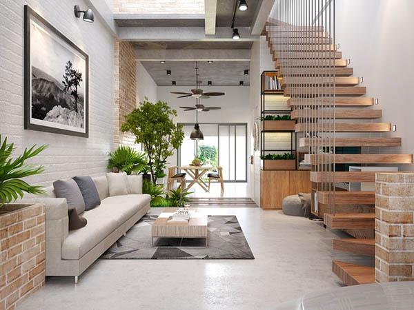 thiết kế phòng khách đẹp với không gian mở