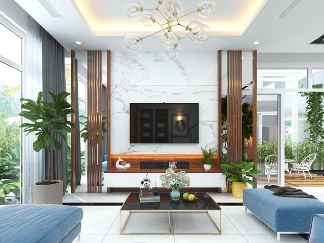 thiết kế nội thất phòng khách kết hợp với không gian xanh mát