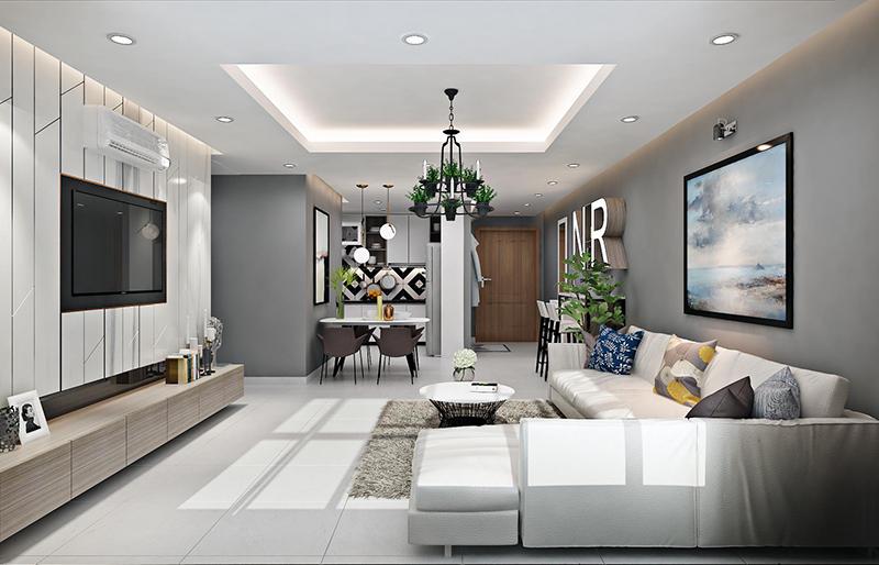 phòng khách đơn giản hiện đại hợp phong thủy