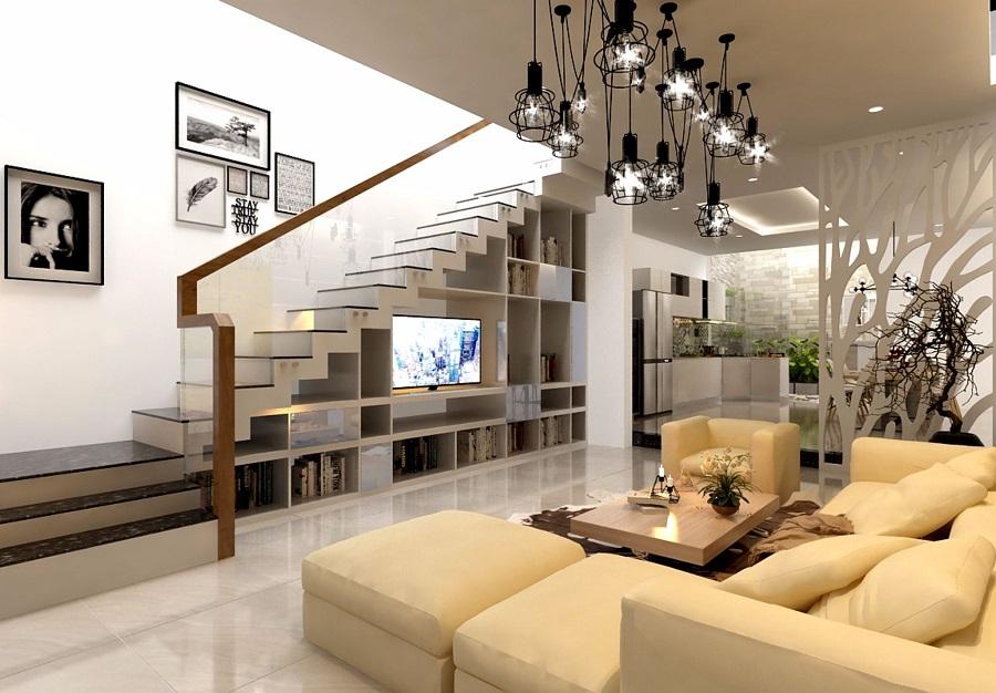 nội thất phòng khách đẹp với bộ salon màu kem sữa hiện đại