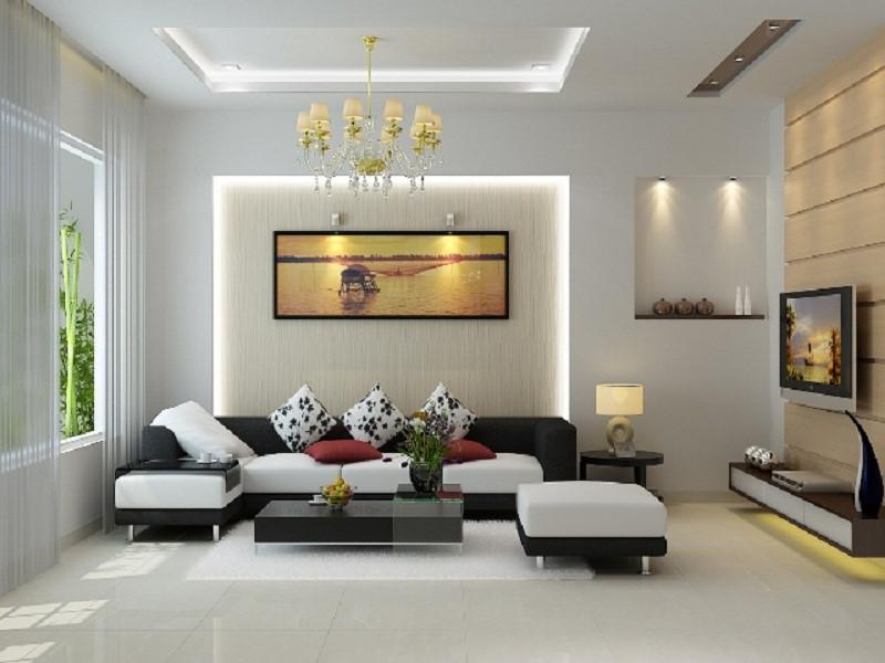 mẫu phòng khách hiện đại hợp phong thủy với gam màu nhẹ nhàng