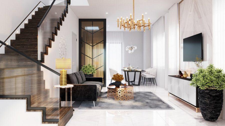 mẫu phòng khách đẹp mang phong cách trẻ trung hiện đại