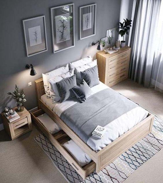 phòng ngủ đẹp với tông màu nâu xám nhẹ nhàng