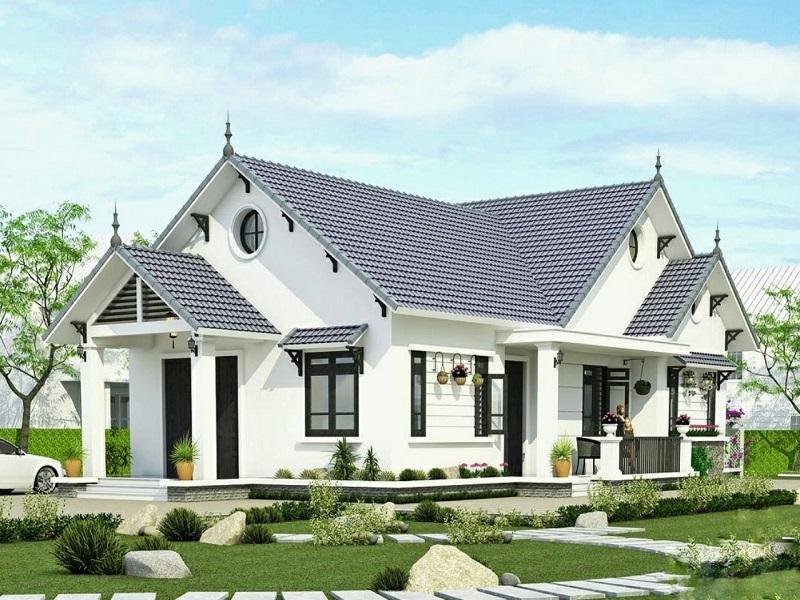 Thiết kế nhà mái thái cấp 4 kiểu biệt thự sân vườn